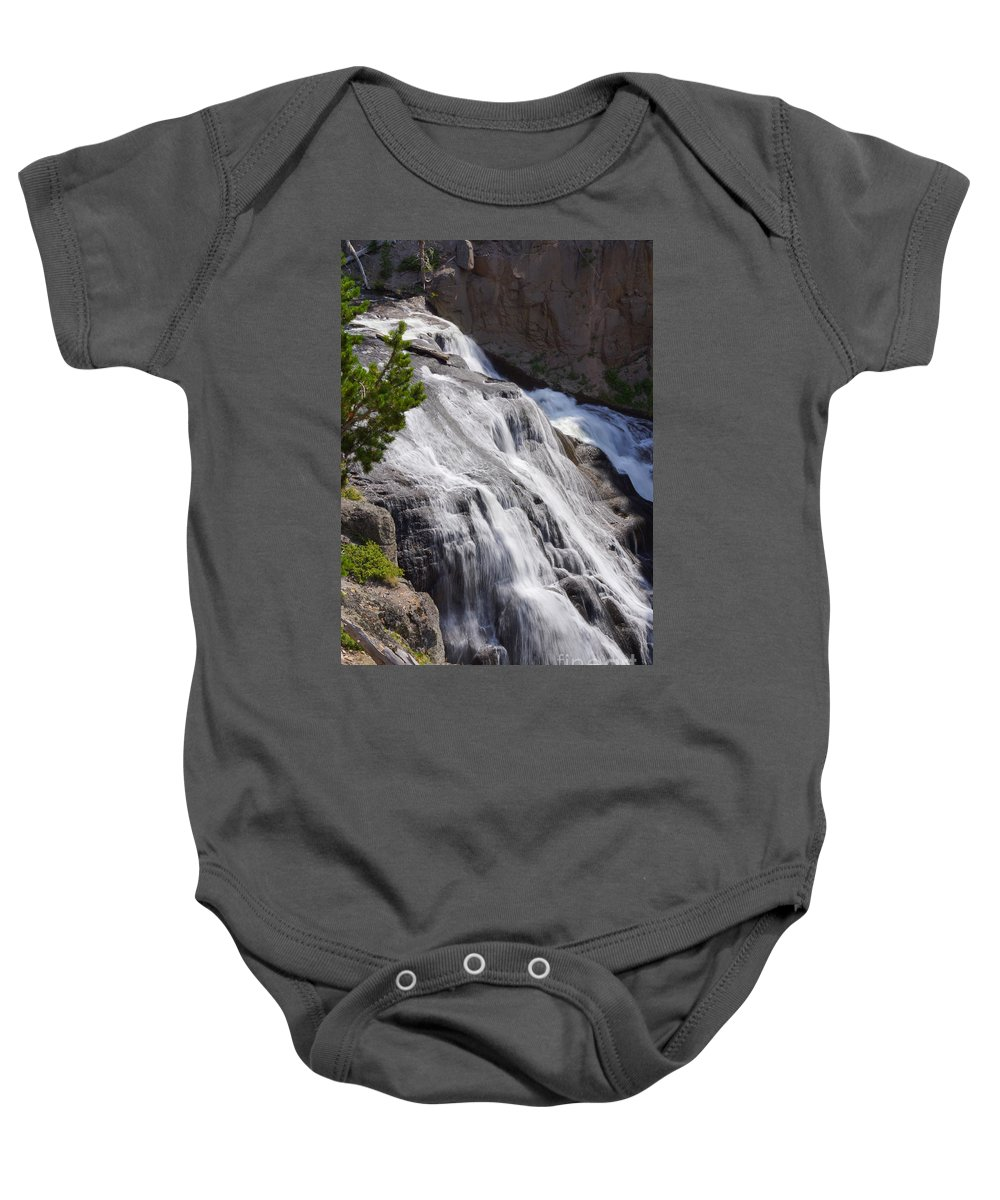 America Baby Onesie featuring the photograph Yellowstone Gibbon Falls by Jennifer White