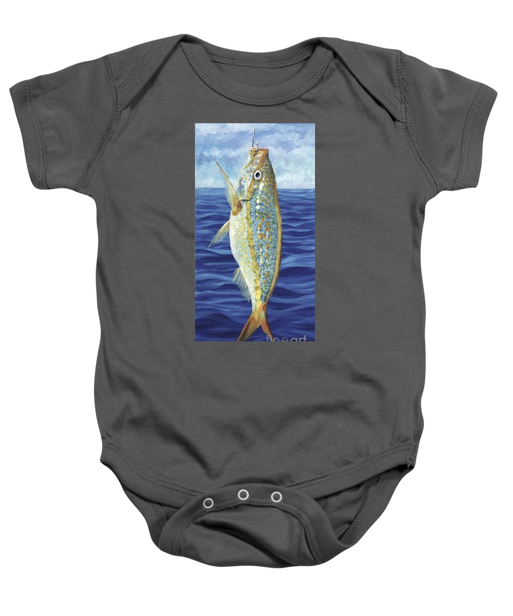 Snapper Baby Onesie featuring the painting Yellowtail On The Menu by Danielle Perry