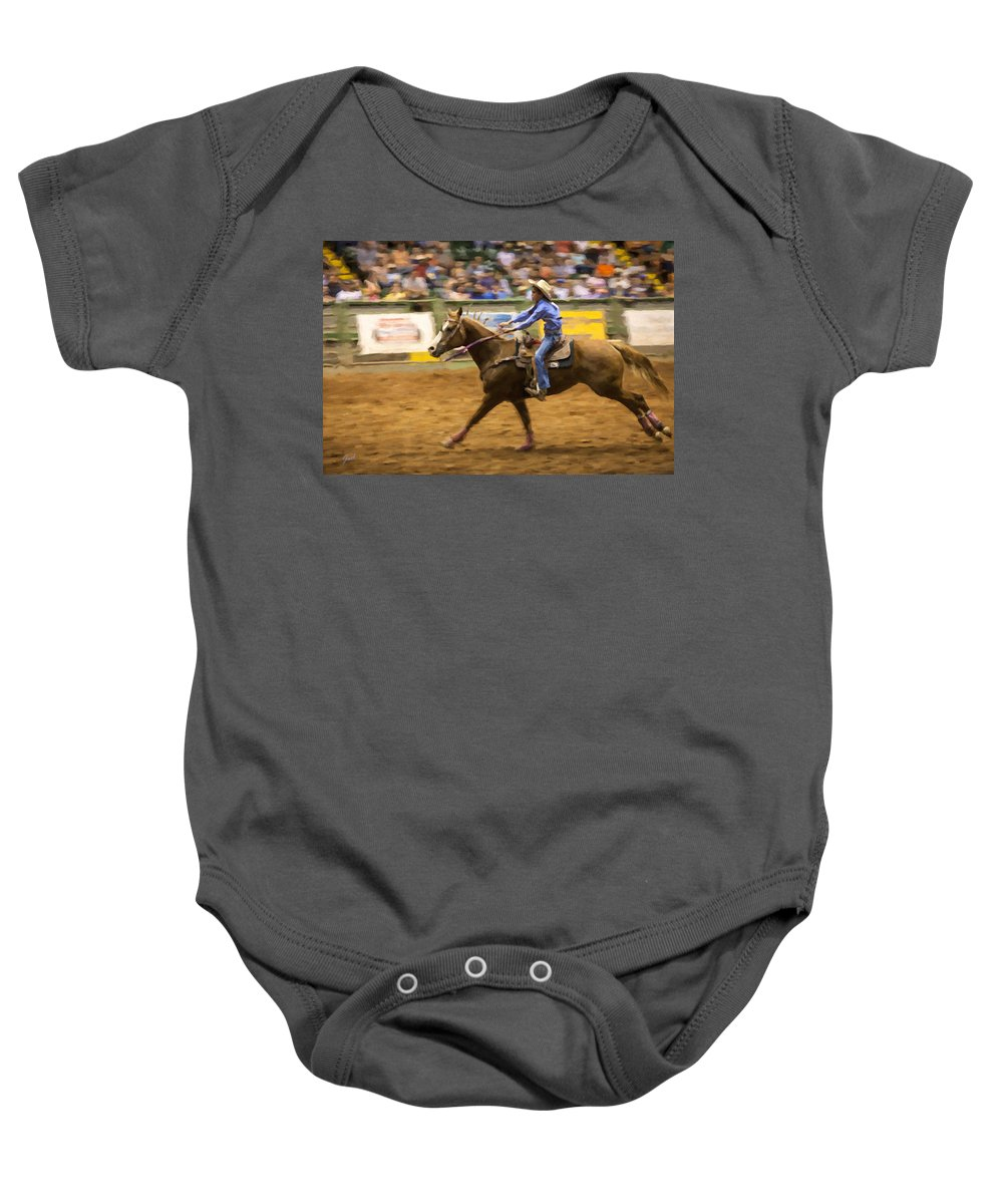 Competition Baby Onesie featuring the digital art Young Cowgirl by Jack Milchanowski