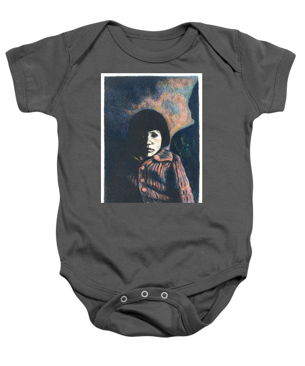 Girl Baby Onesie featuring the drawing Young Girl by Kendall Kessler