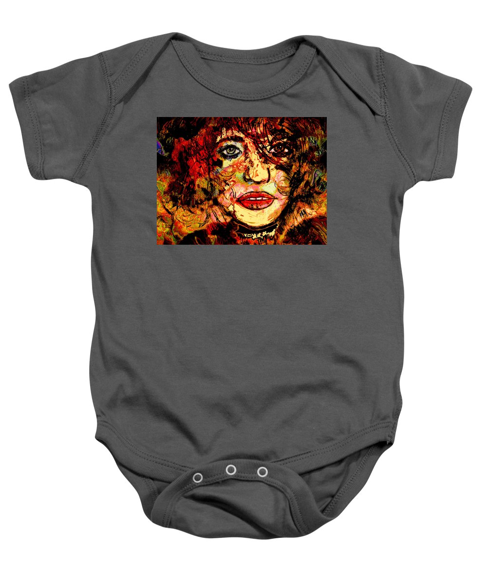 Woman Baby Onesie featuring the mixed media Zelda by Natalie Holland