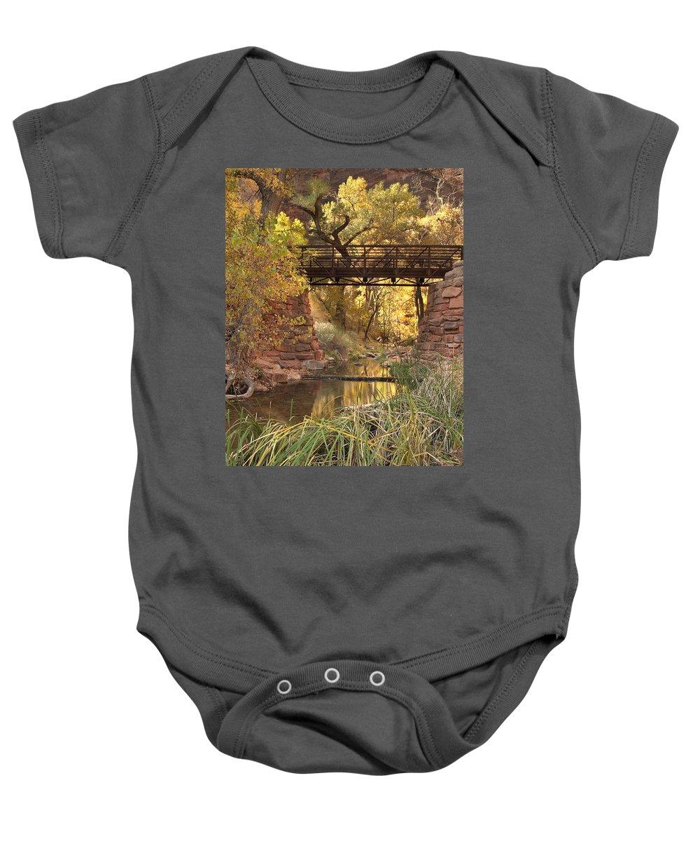 3scape Baby Onesie featuring the photograph Zion Bridge by Adam Romanowicz