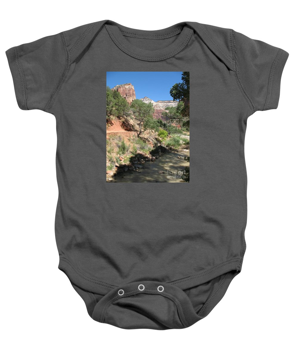 Mountians Baby Onesie featuring the photograph Zion Park - Virgin River by Christiane Schulze Art And Photography