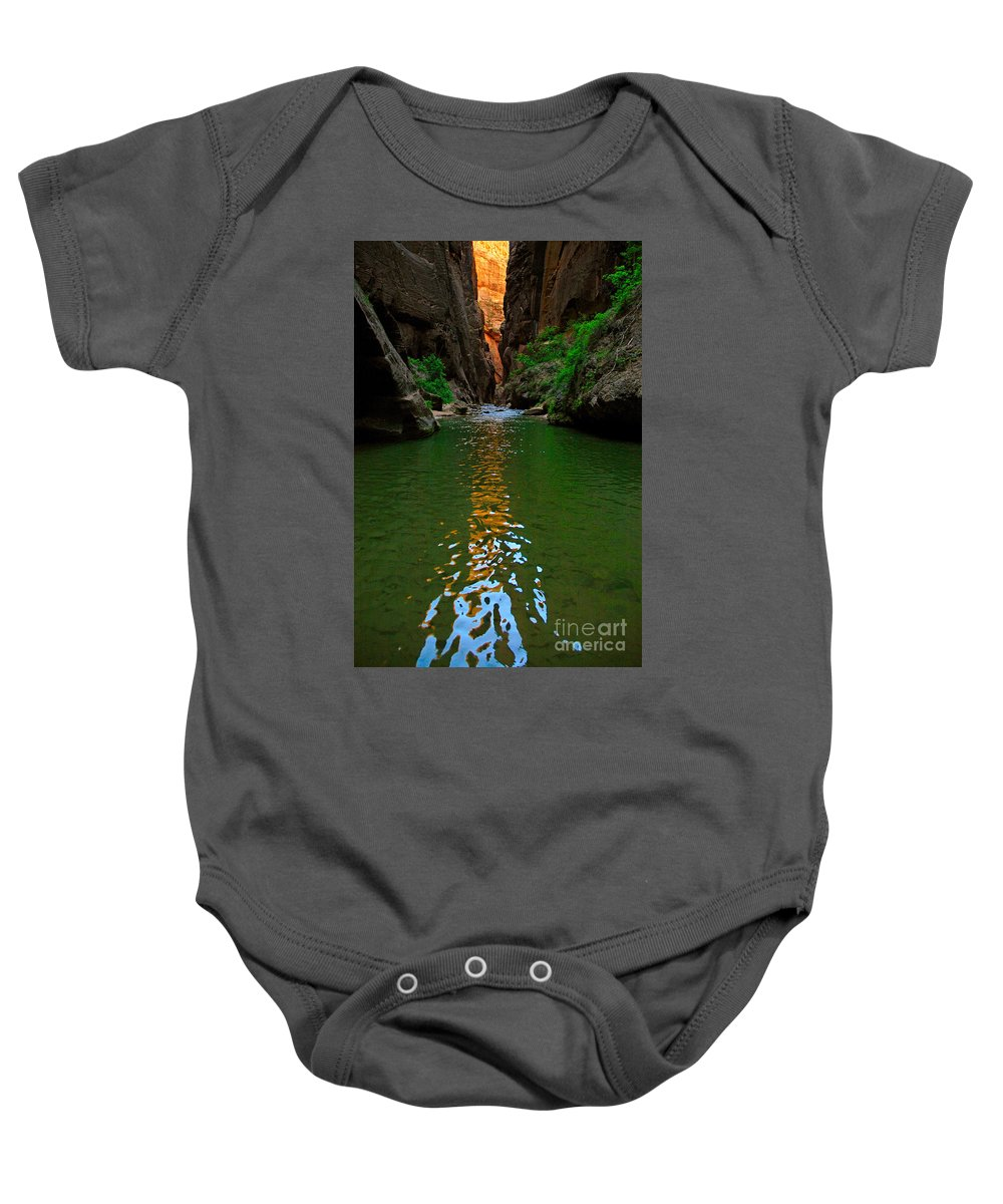 Narrows Baby Onesie featuring the photograph Zion Reflections - The Narrows At Zion National Park. by Jamie Pham