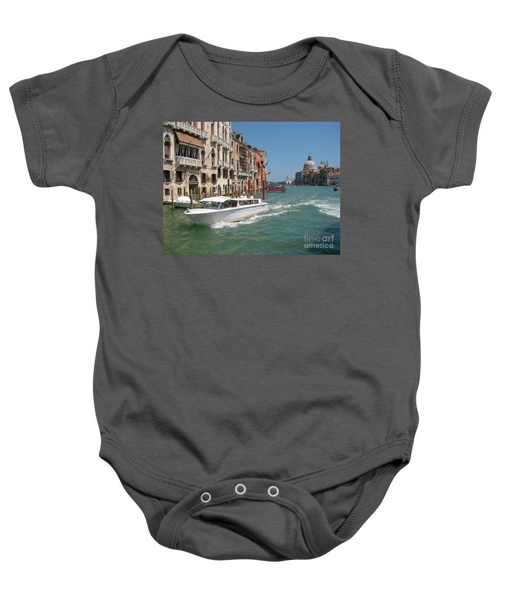 Zooming On The Canals Of Venice Baby Onesie featuring the photograph Zooming On The Canals Of Venice by John Malone