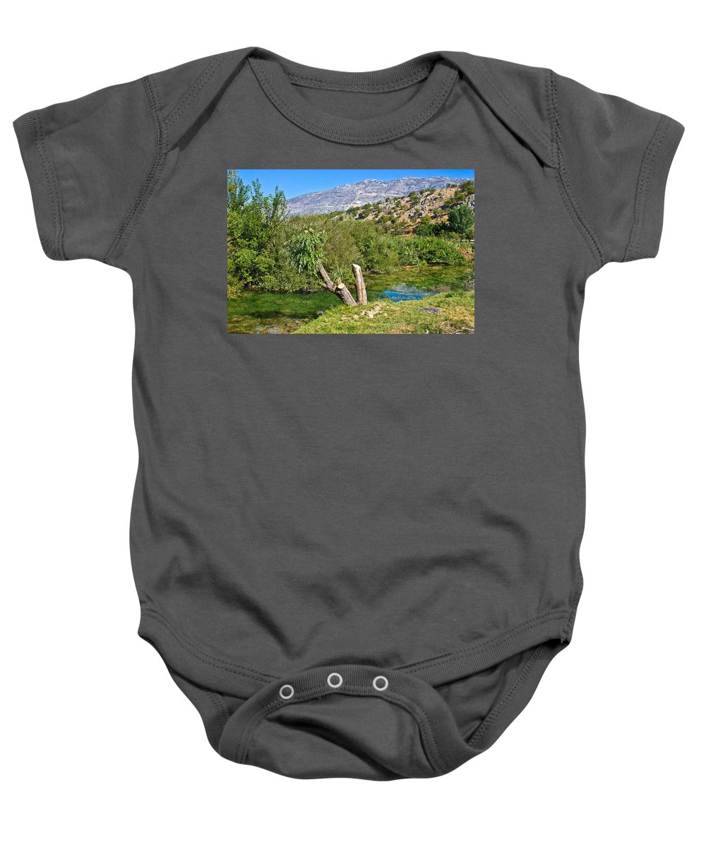 Zrmanja Baby Onesie featuring the photograph Zrmanja River And Velebit Mountain by Brch Photography