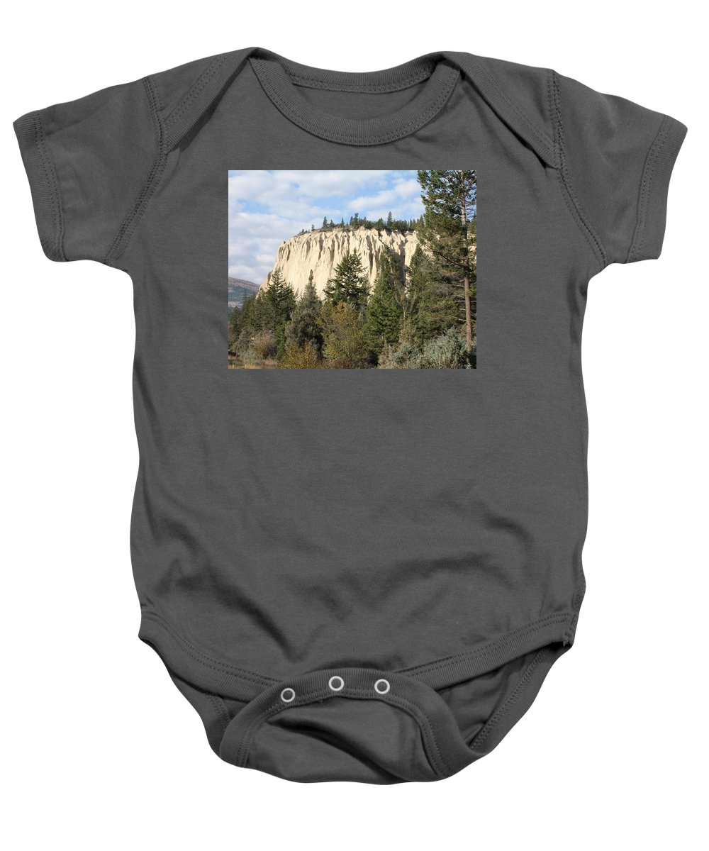Rocky Mountains Baby Onesie featuring the photograph Canadian Rocky Mountain Hoodoos Bc by Terry Fleckney