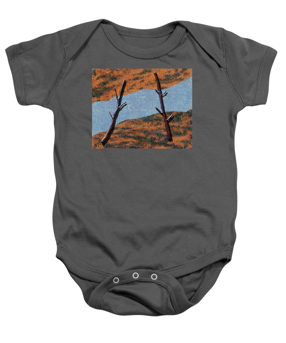 Abstract Baby Onesie featuring the digital art 0361 Abstract Landscape by Chowdary V Arikatla