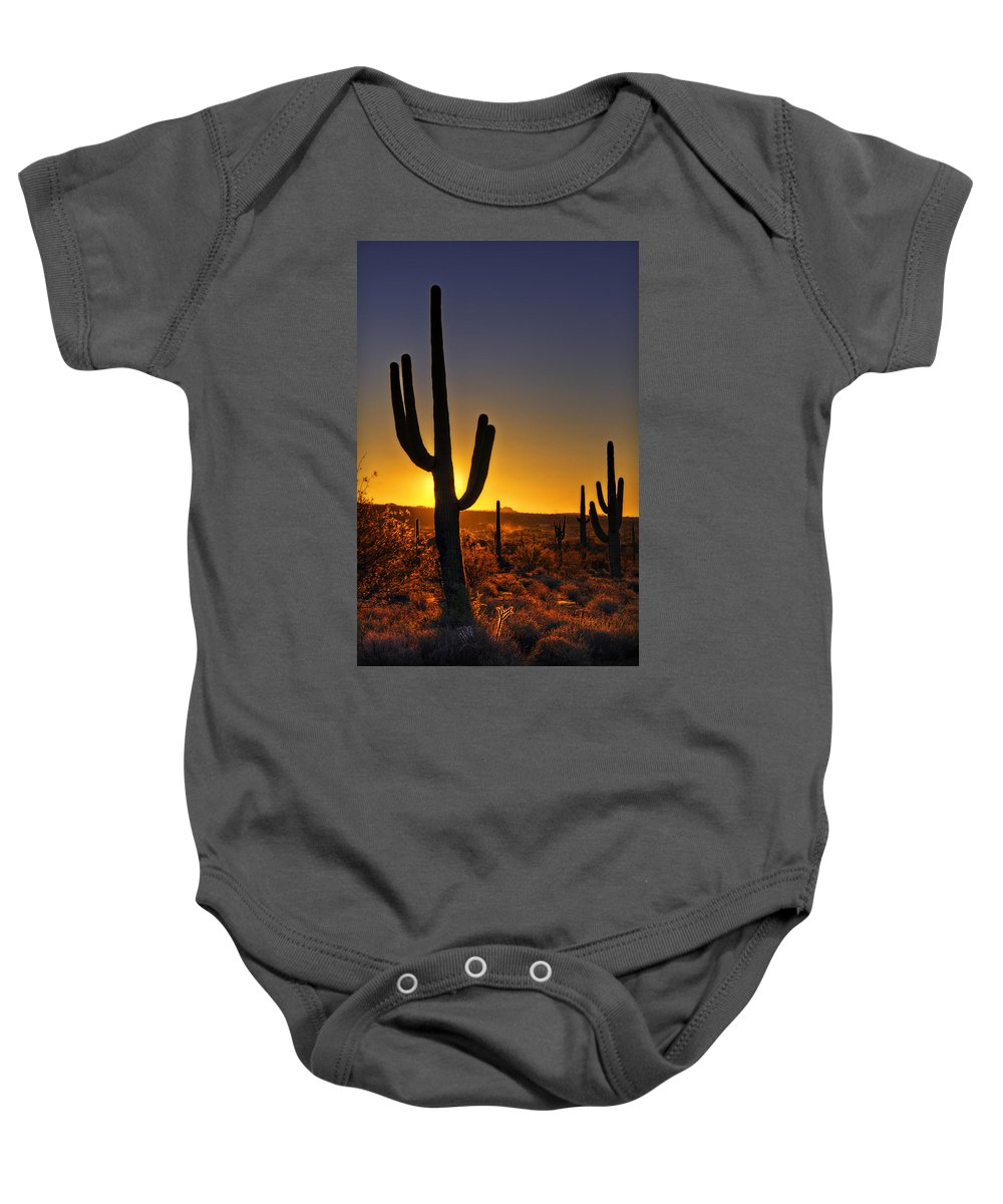Sunrise Baby Onesie featuring the photograph A Saguaro Sunrise by Saija Lehtonen
