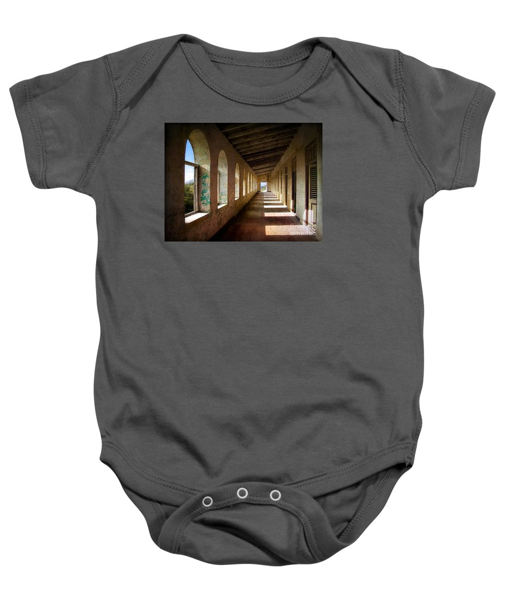 Curacao Baby Onesie featuring the photograph Abandoned Asylum by Doug Sturgess