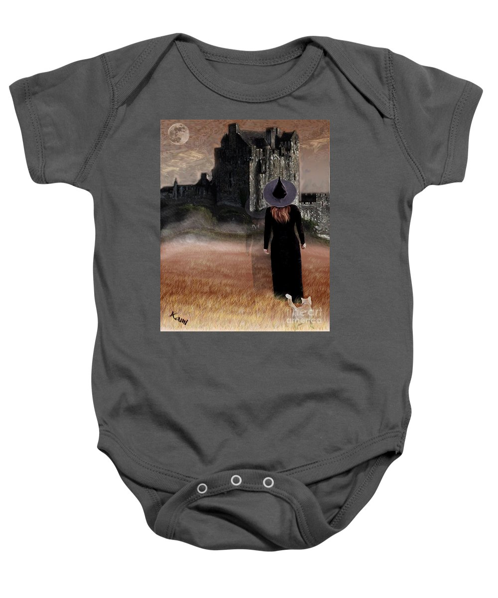 Witch Baby Onesie featuring the painting Autumn Witch by Kami Catherman