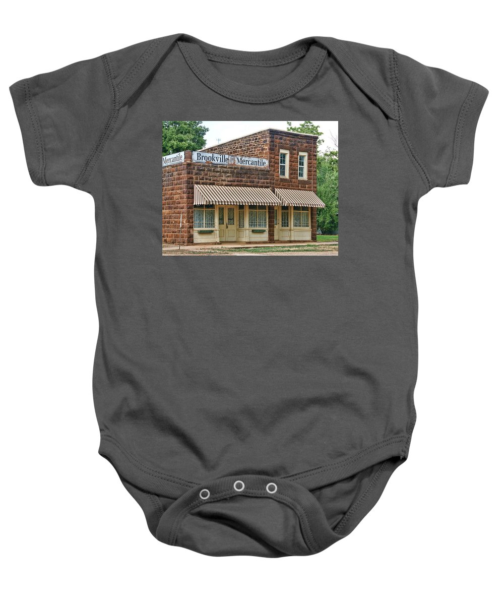 Bookville Baby Onesie featuring the photograph Brookville Mercantile by Alan Hutchins