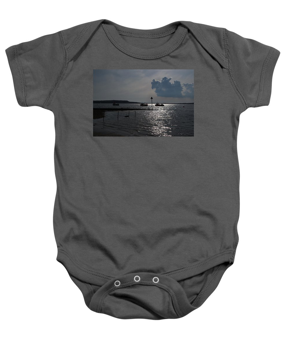 Christchurch Harbour Baby Onesie featuring the photograph Christchurch Harbour Viewed From Mudeford by Chris Day