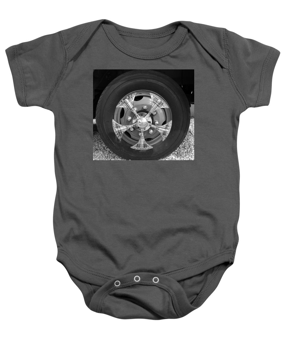 Tires Baby Onesie featuring the photograph Fire Truck Spinners by Rob Hans