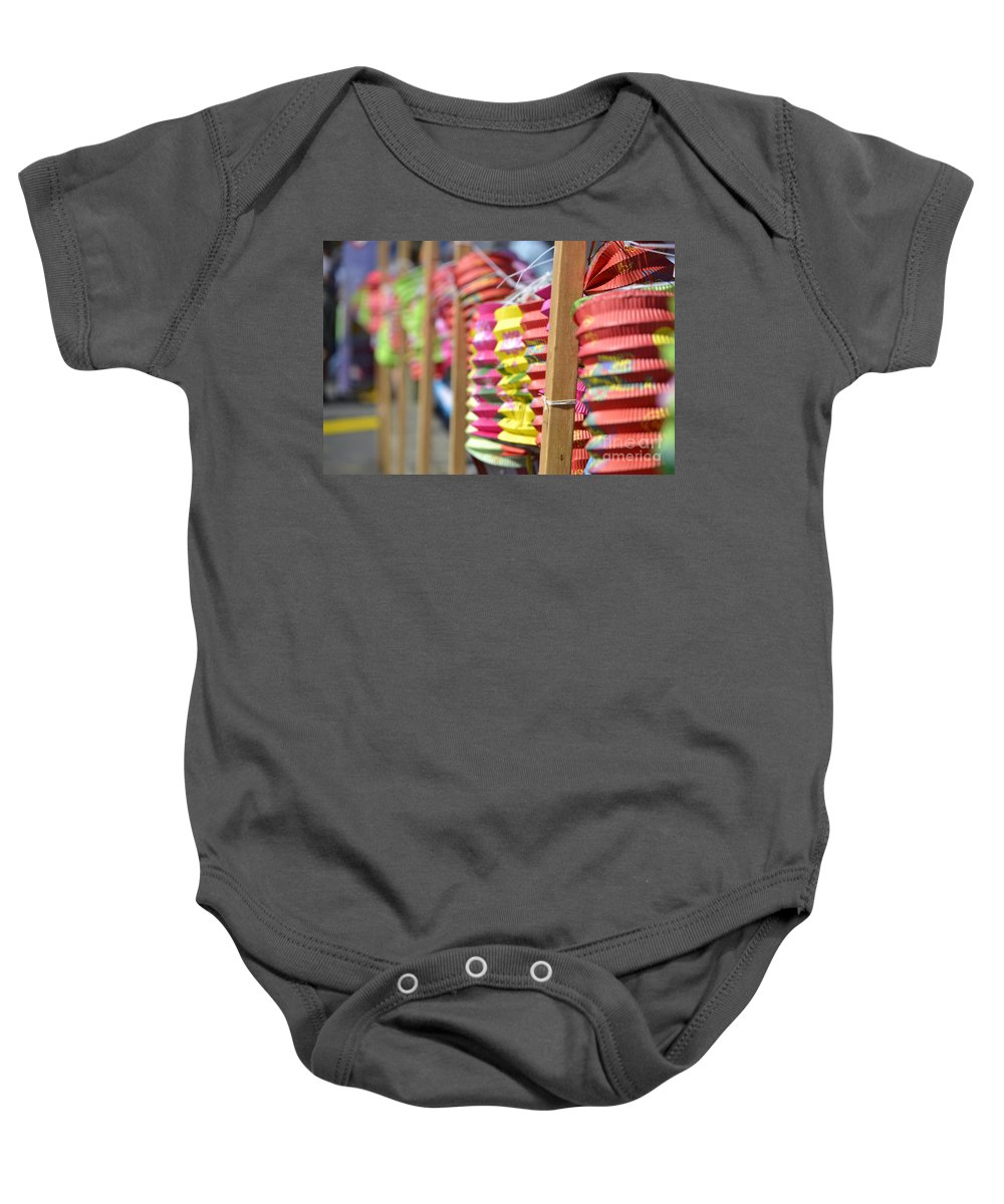 Dragon Boat Races Baby Onesie featuring the photograph Lanterns by Traci Cottingham