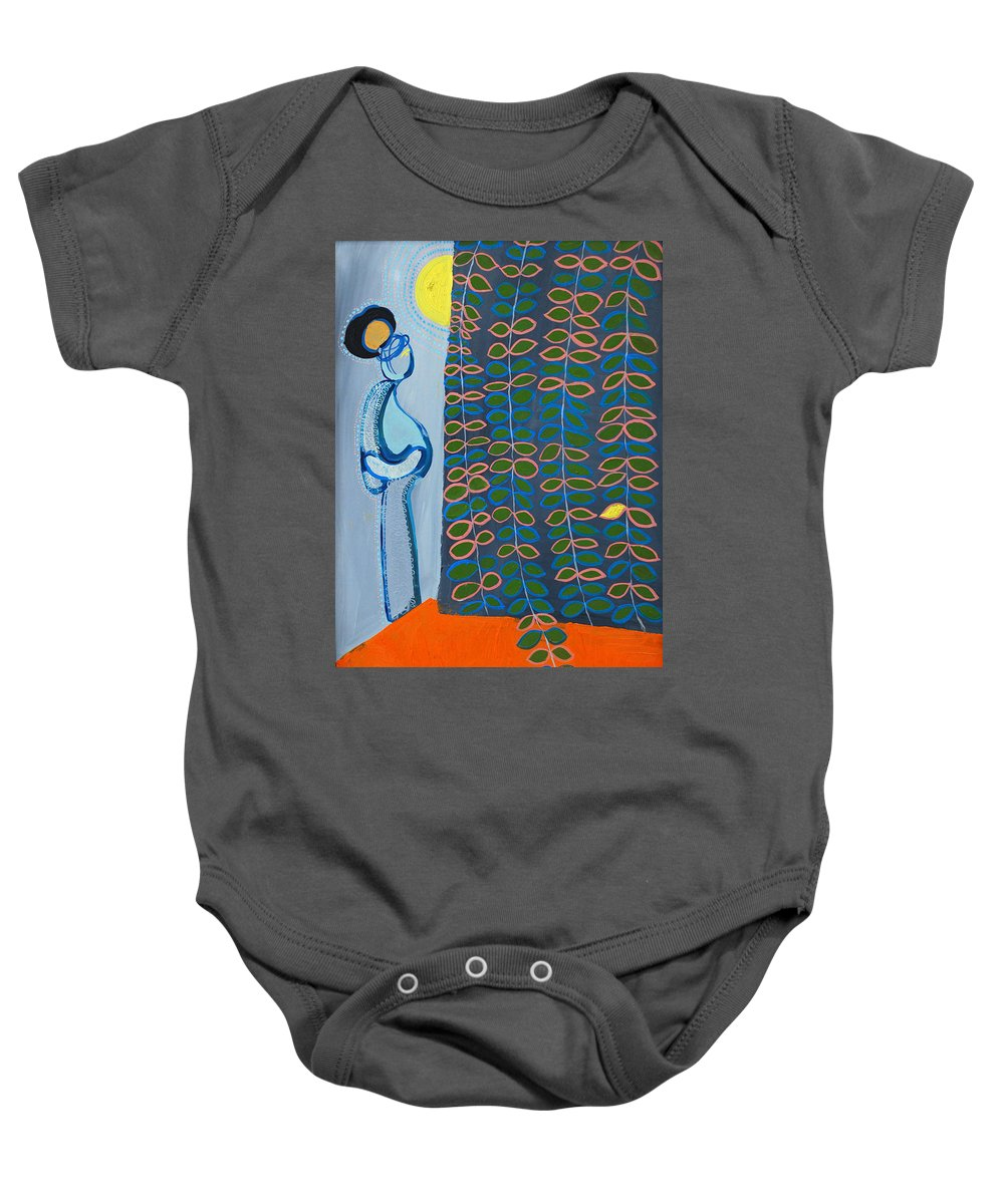 Mother Baby Onesie featuring the painting Look- The Sun by Laura Vizbule