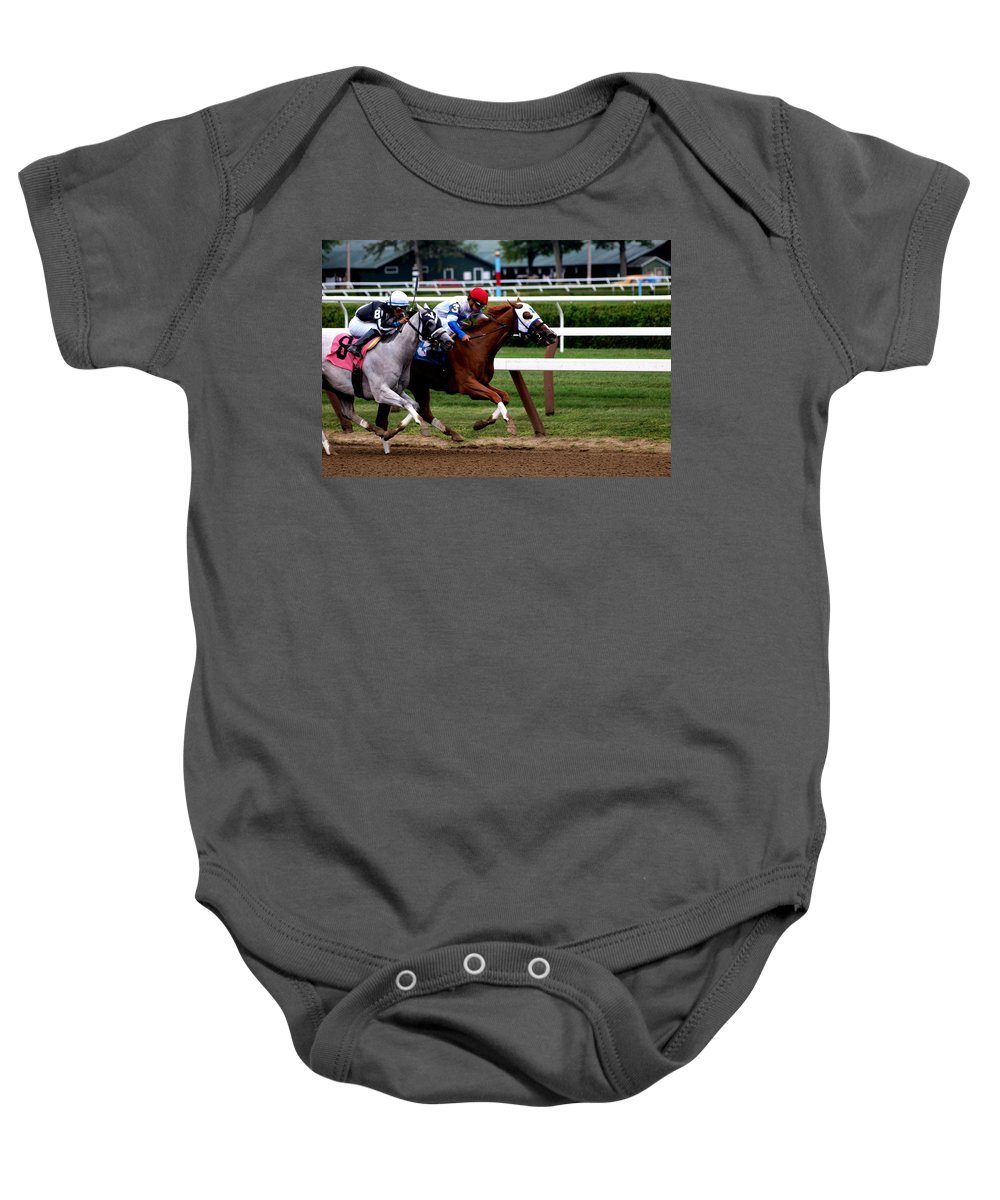 Horse Racing Baby Onesie featuring the photograph Neck And Neck At Saratoga One by Joshua House