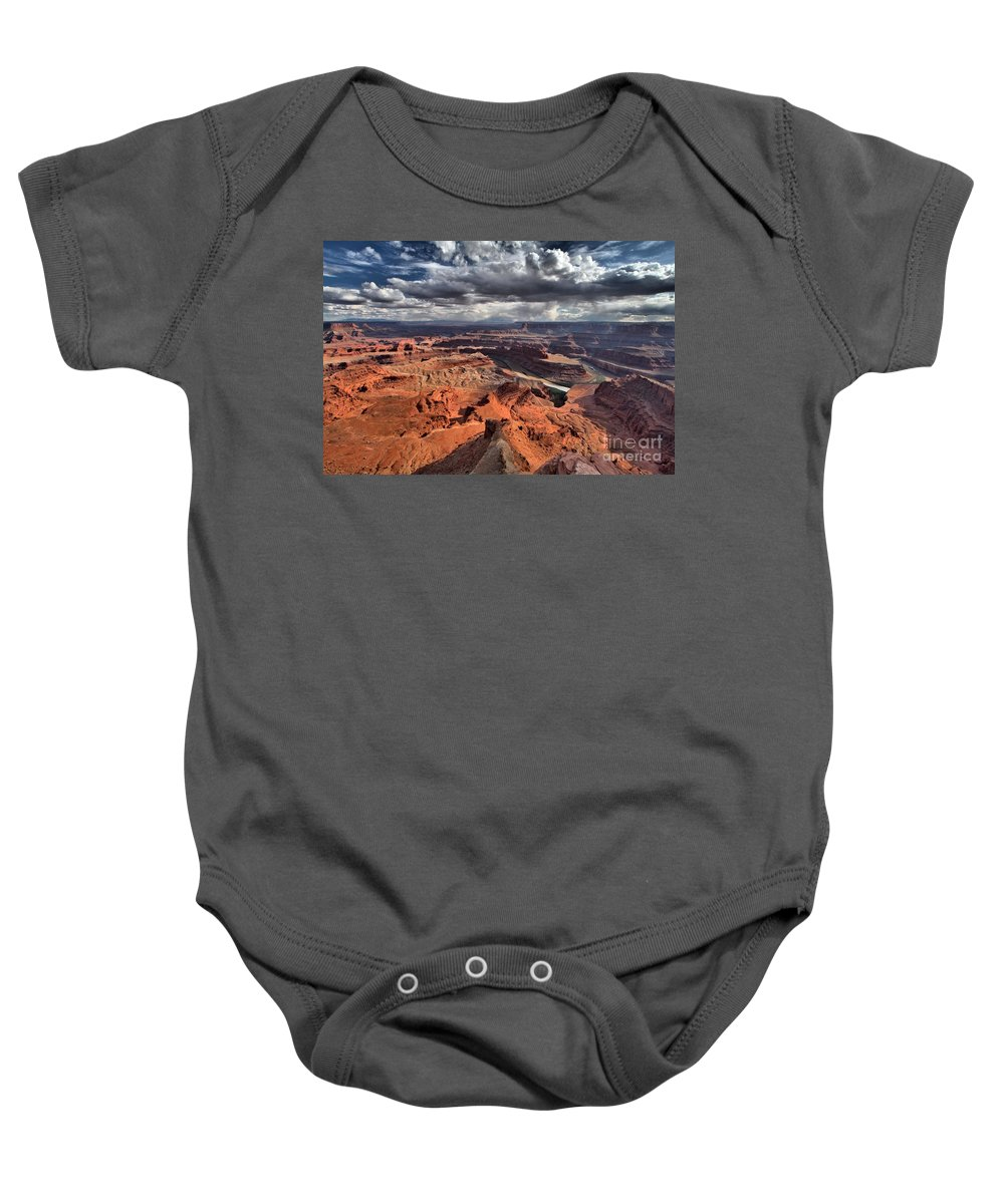 Dead Horse Point Baby Onesie featuring the photograph On The Edge by Adam Jewell