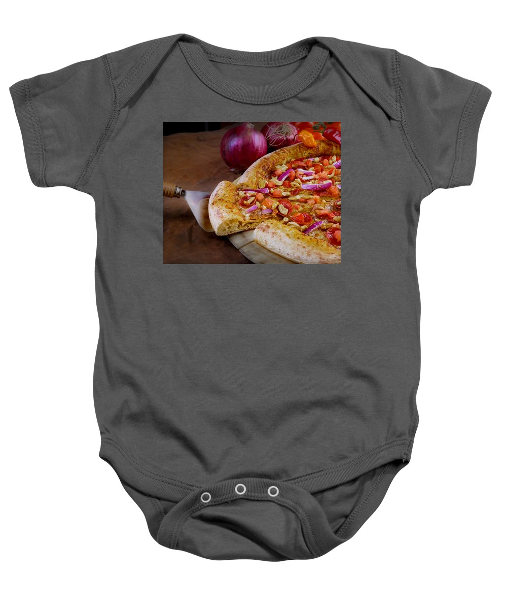 Garlic Jims Pizza Baby Onesie featuring the photograph Pizza by Mike Penney