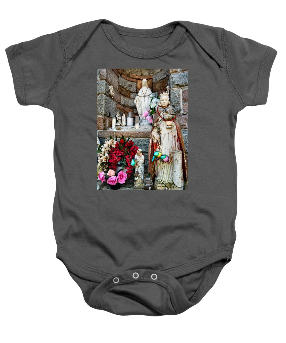 Shrine Baby Onesie featuring the photograph Prayer by Art Dingo