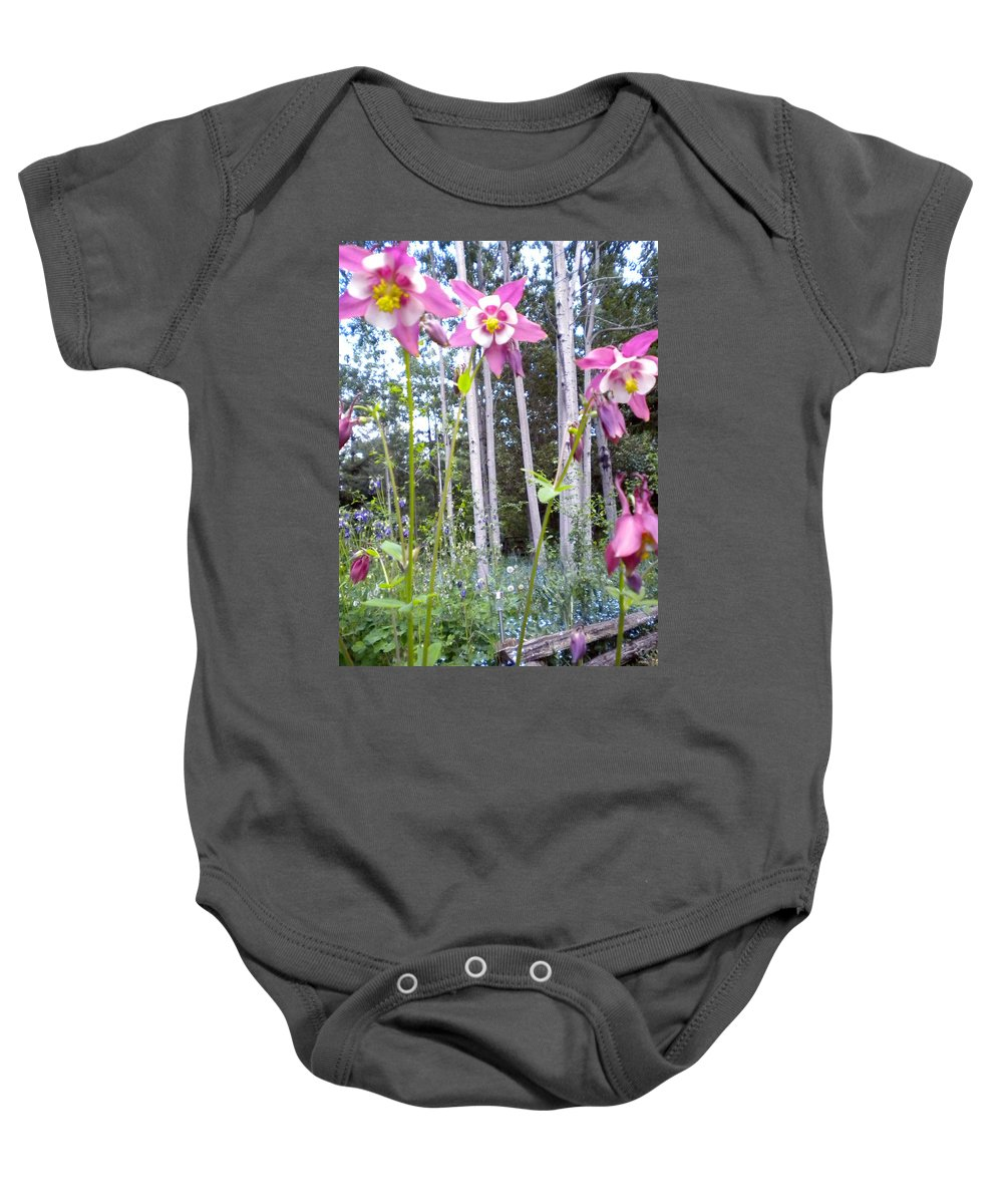Columbine Baby Onesie featuring the painting Reaching For The Sky by Renate Nadi Wesley
