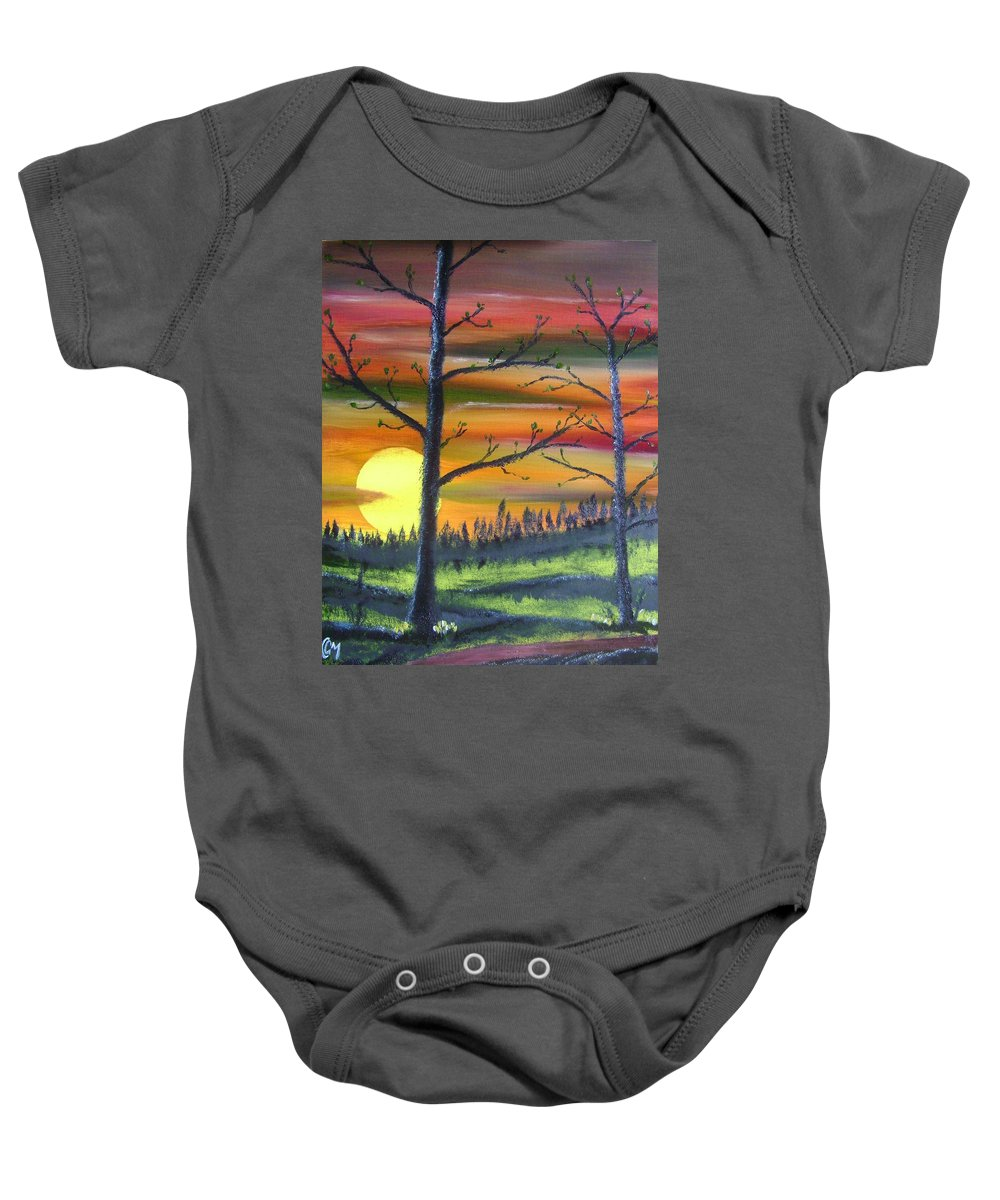 Spring Baby Onesie featuring the painting Spring Sunrise by Charles and Melisa Morrison