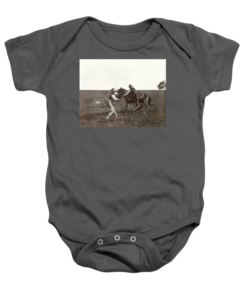 1908 Baby Onesie featuring the photograph Texas: Cowboys, C1908 by Granger