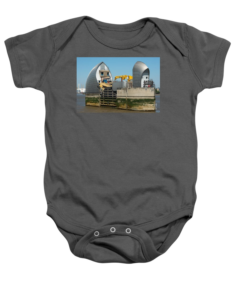 British Baby Onesie featuring the photograph Thames Barrier by Andrew Michael