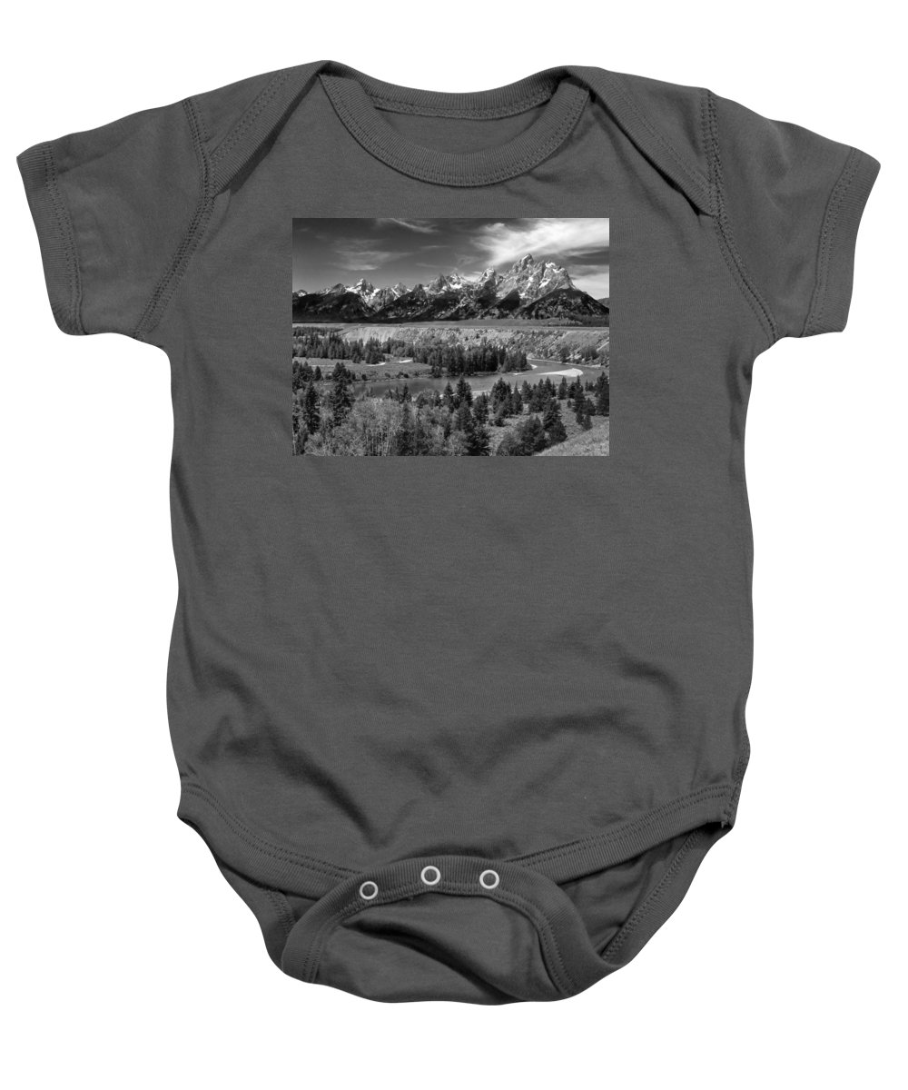 Baby Onesie featuring the photograph The Grand Tetons And The Snake River by Ken Smith