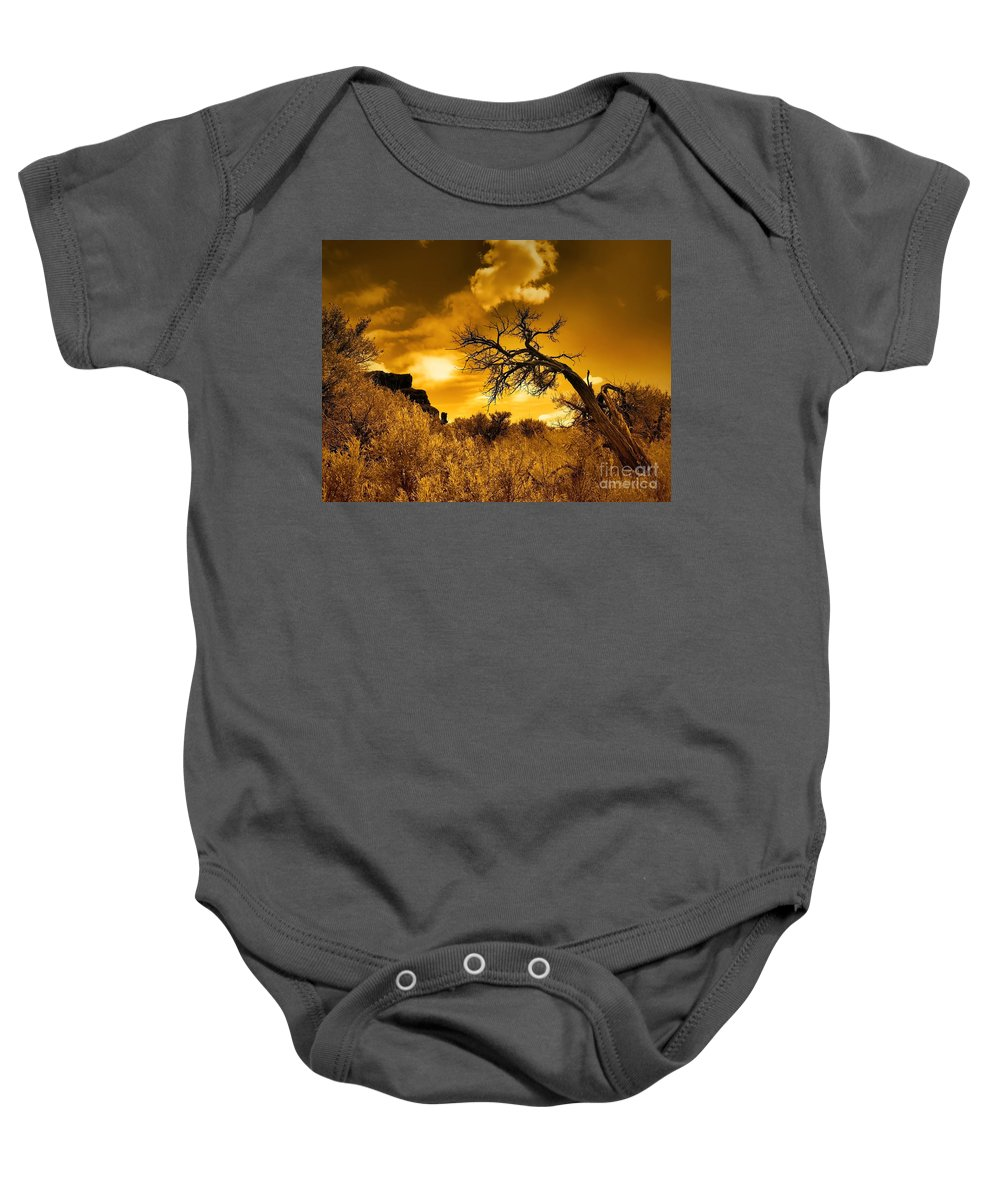 Clouds Baby Onesie featuring the photograph The Weight Of The Clouds In Sepia by Tara Turner