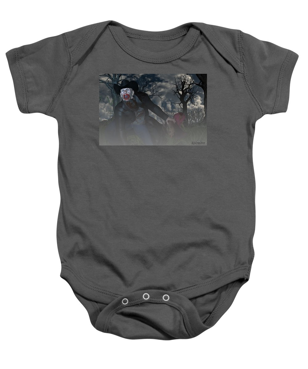 Vampire Baby Onesie featuring the digital art Vampire Cowboy by Michael Stowers