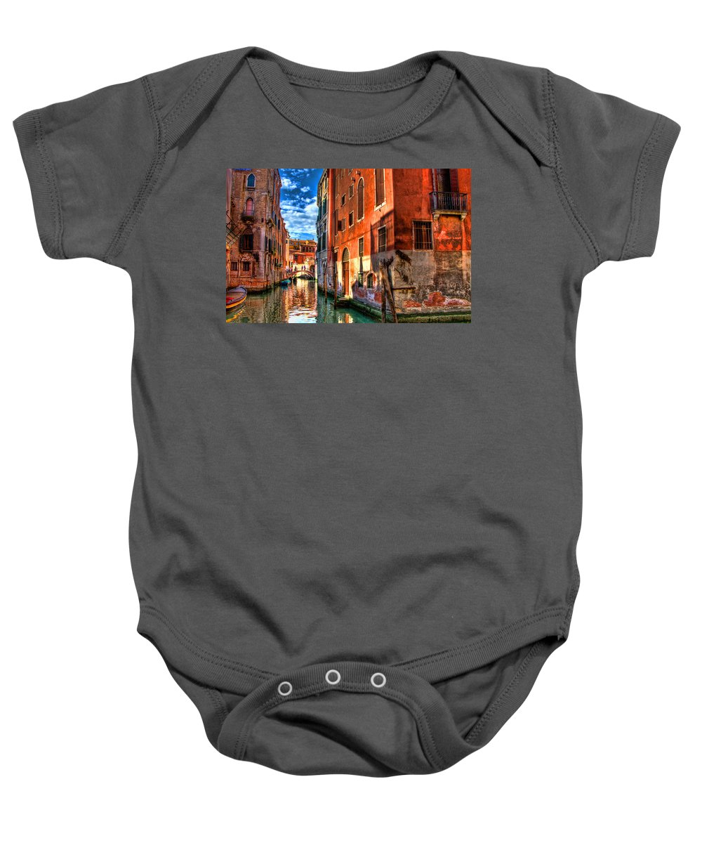 Venice Baby Onesie featuring the photograph Venice Canal by Jon Berghoff