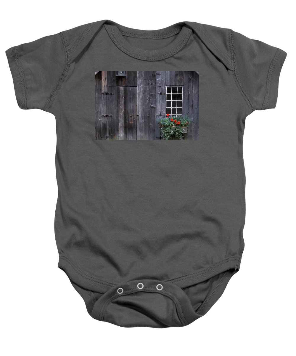 Point Baby Onesie featuring the photograph Wooden Building And Window Box by David Chapman