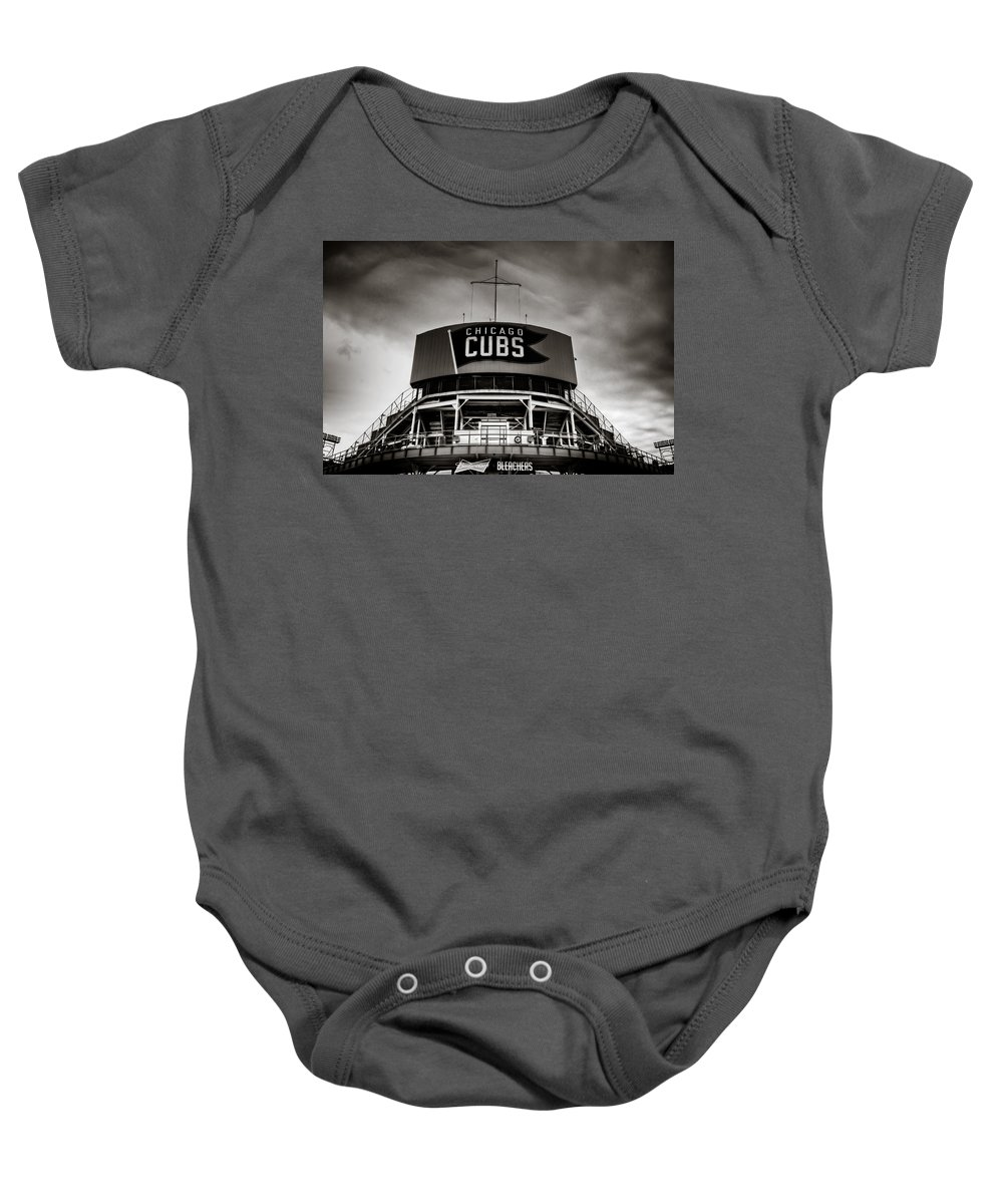 Chicago Baby Onesie featuring the photograph Wrigley Field Bleachers In Black And White by Anthony Doudt