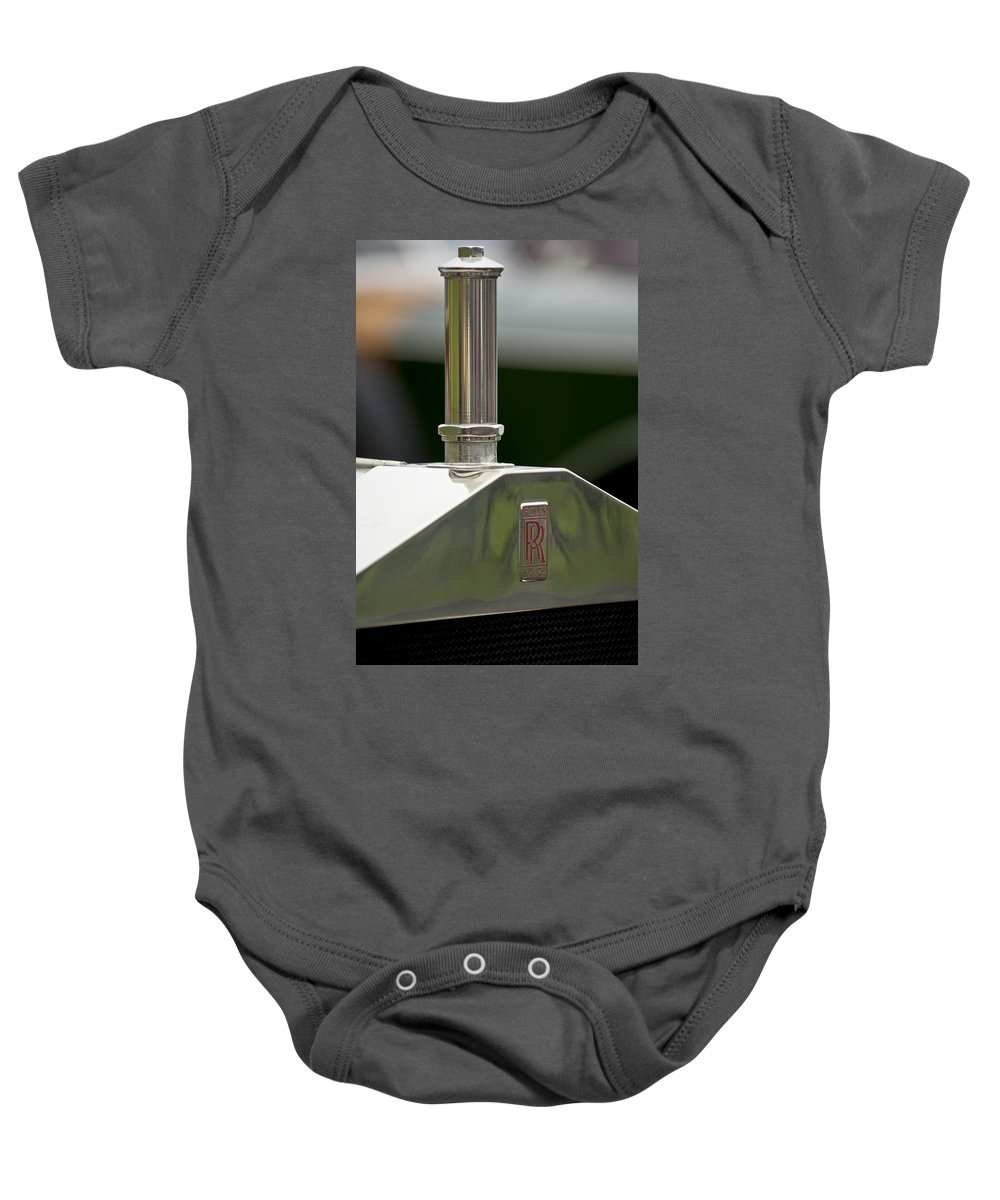 1914 Rolls-royce Silver Ghost Alpine Eagle Portholme Torpedo Baby Onesie featuring the photograph 1914 Rolls-royce Silver Ghost Hood Ornament by Jill Reger