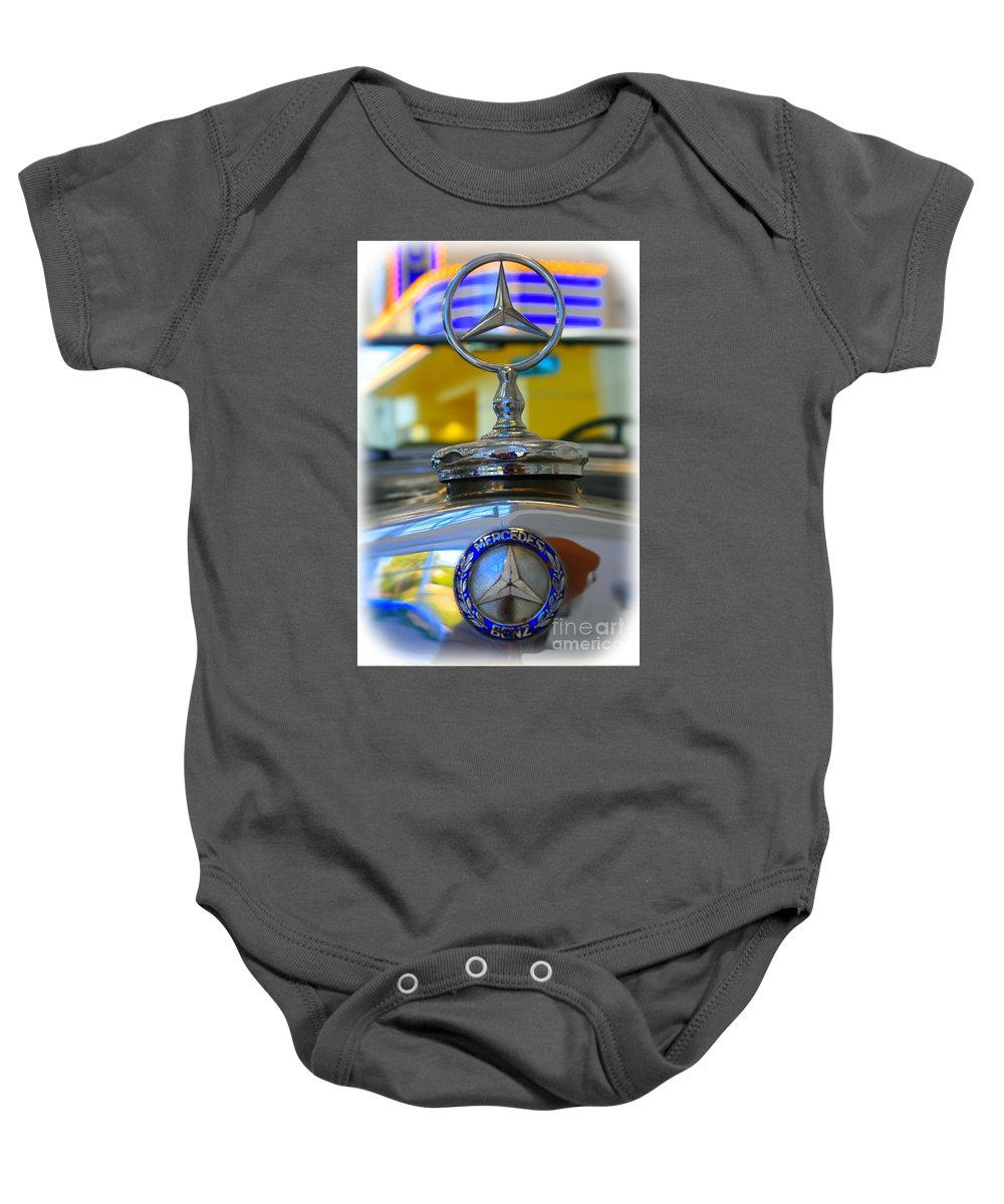 1939 Baby Onesie featuring the photograph 1939 Mercedes-benz Logo by Tommy Anderson