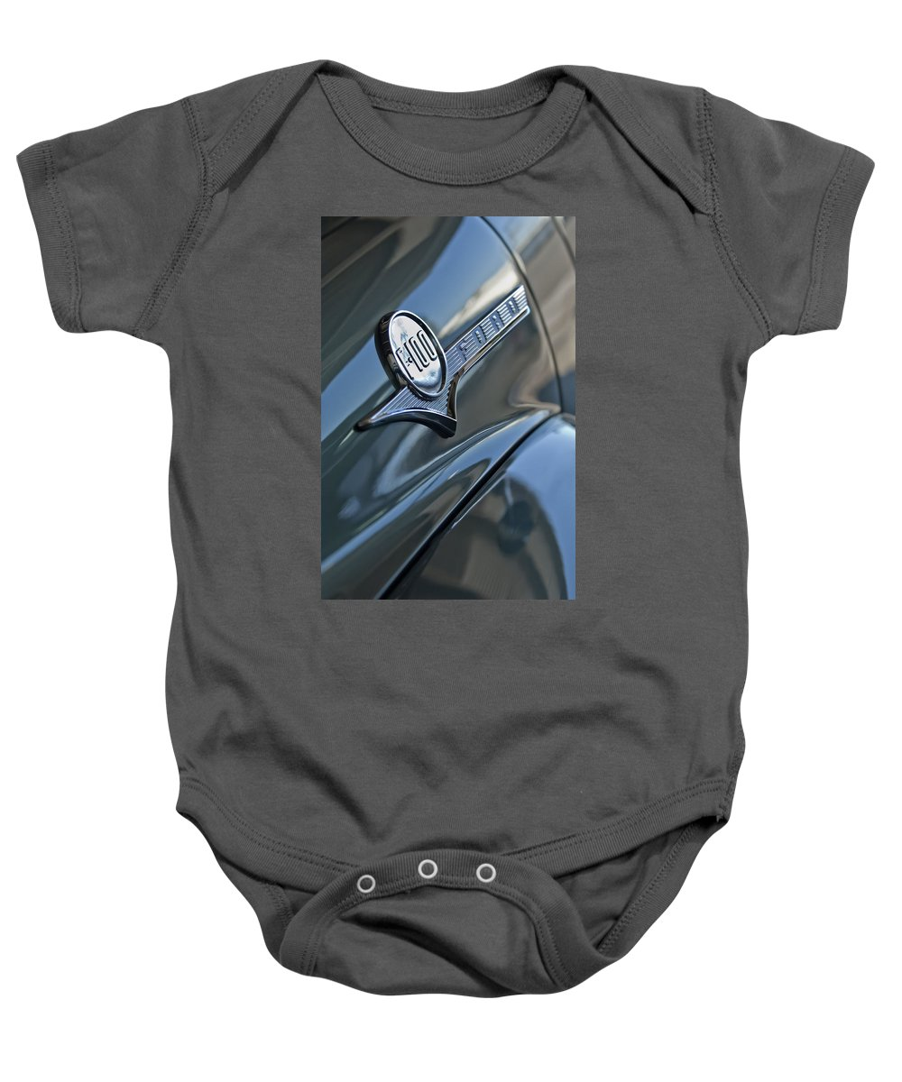 1956 Ford F-100 Truck Baby Onesie featuring the photograph 1956 Ford F-100 Truck Emblem 2 by Jill Reger
