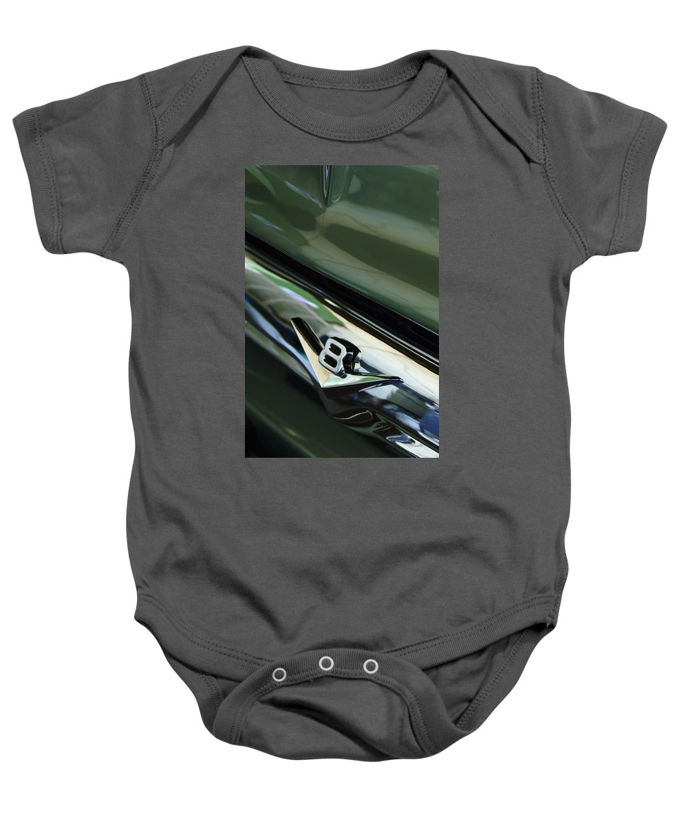 1956 Ford F-100 Truck Baby Onesie featuring the photograph 1956 Ford F-100 Truck Emblem 3 by Jill Reger