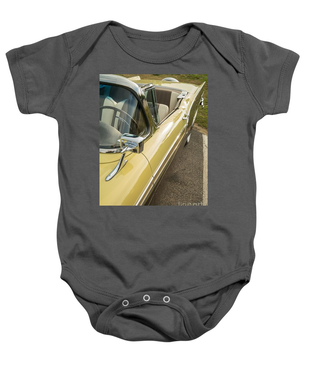 Car Vintage Cruise Show Night Diner Hardtop Convertible Ford 1957 Ford Fairlane 500 Skyliner Retractable Hardtop Convertible Baby Onesie featuring the photograph 1957 Ford Fairlane 500 Skyliner Retractable Hardtop Convertible by Edward Fielding