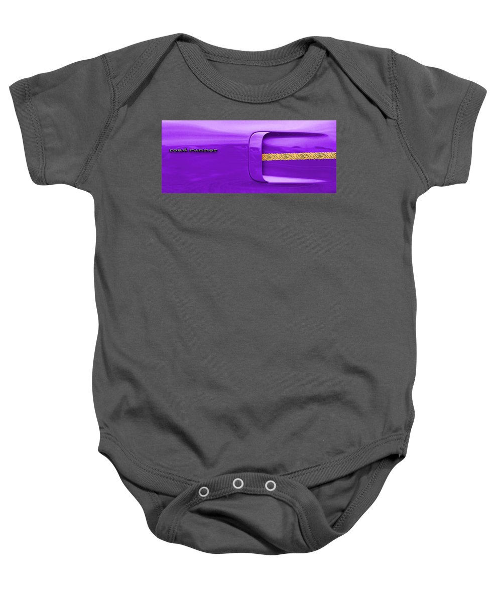1970 Baby Onesie featuring the photograph 1970 Plum Crazy Plymouth Road Runner by Gordon Dean II
