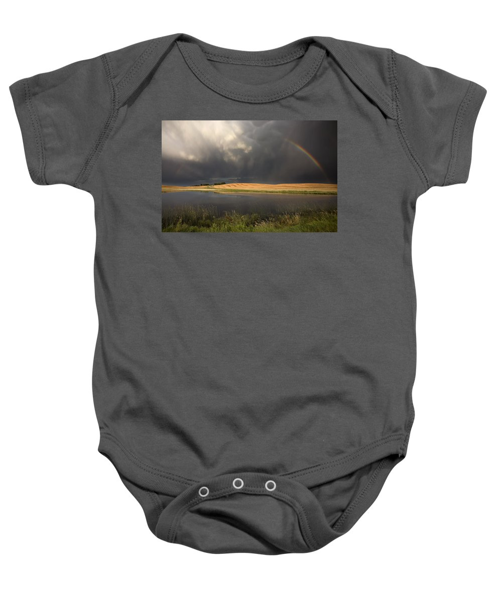 Storm Baby Onesie featuring the photograph Hail Storm And Rainbow by Mark Duffy
