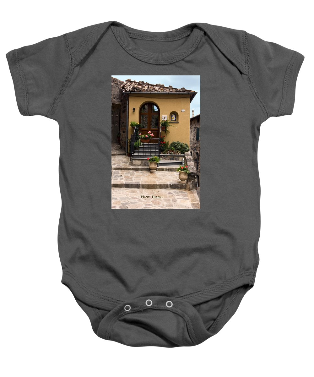 House Entrance Baby Onesie featuring the photograph Many Thanks by Sally Weigand