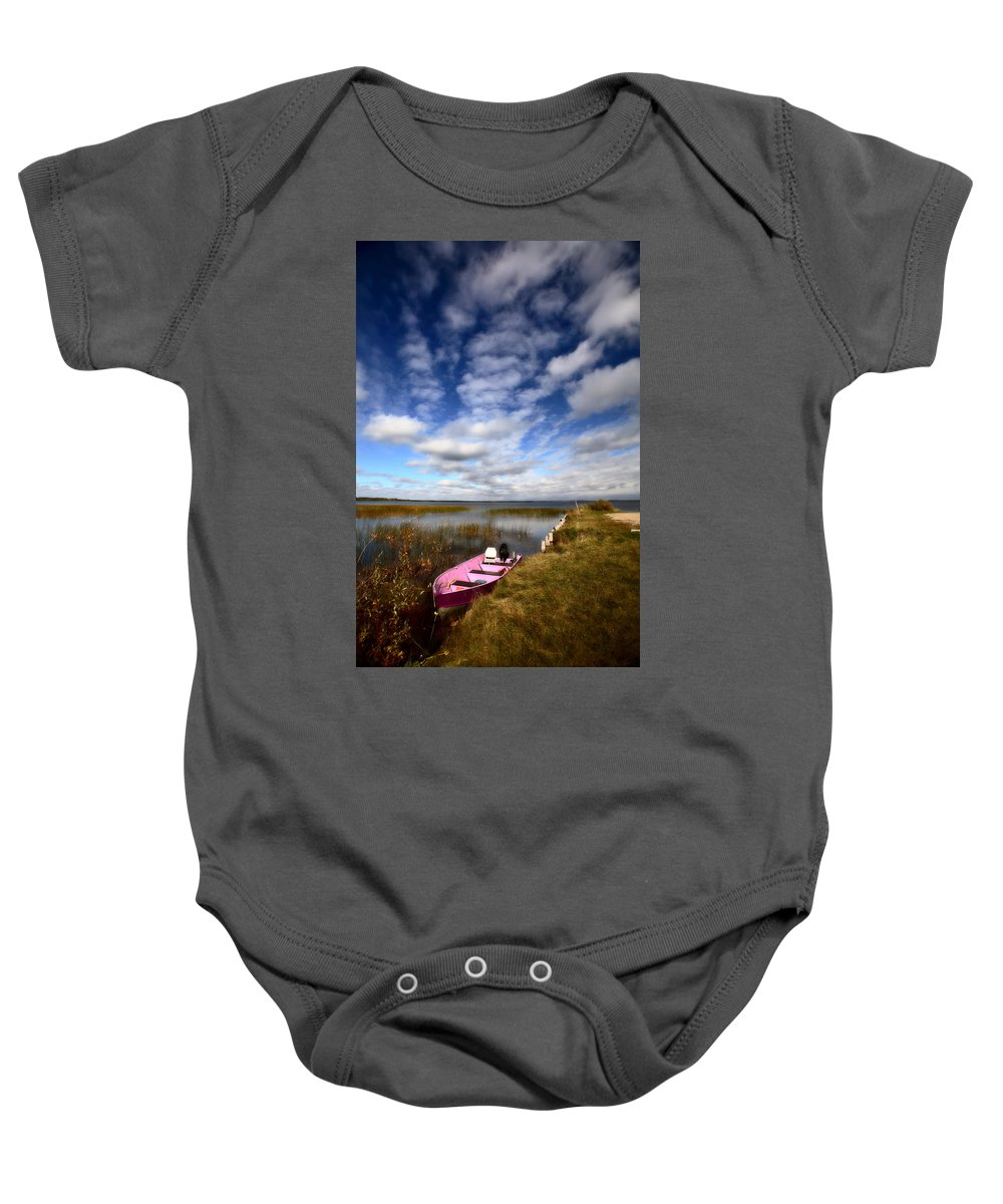 Pink Baby Onesie featuring the photograph Pink Boat In Scenic Saskatchewan by Mark Duffy