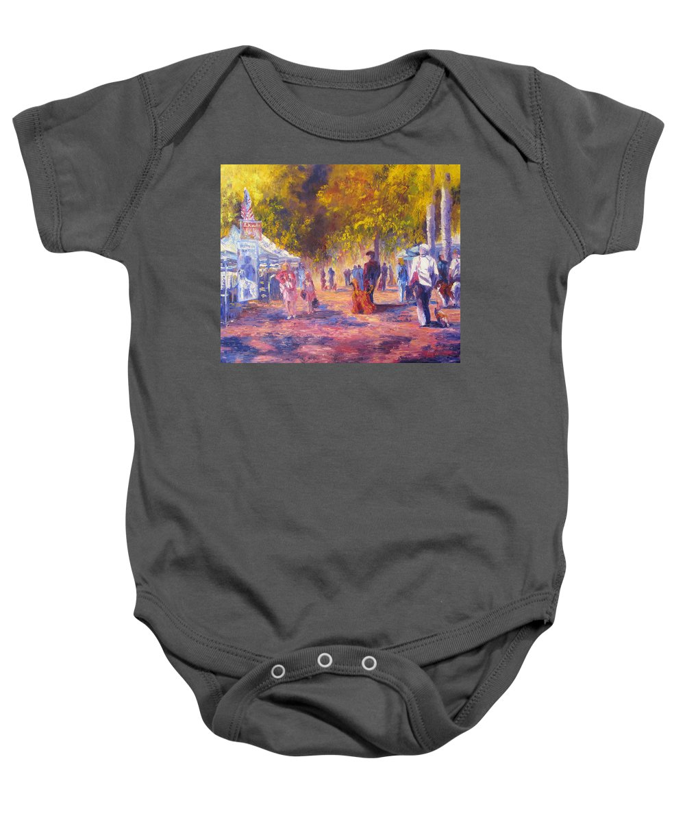 Dog Show Scene Baby Onesie featuring the painting Promenade by Terry Chacon