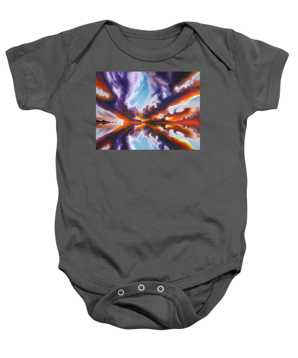 Bright Clouds; Sunsets; Reflections; Ocean; Water; Purple; Orange; Storms; Lightning; Contemporary; Abstract; Realism; James Christopher Hill; James Hill Studios; James C. Hill Baby Onesie featuring the painting Reflections of the Mind by James Christopher Hill