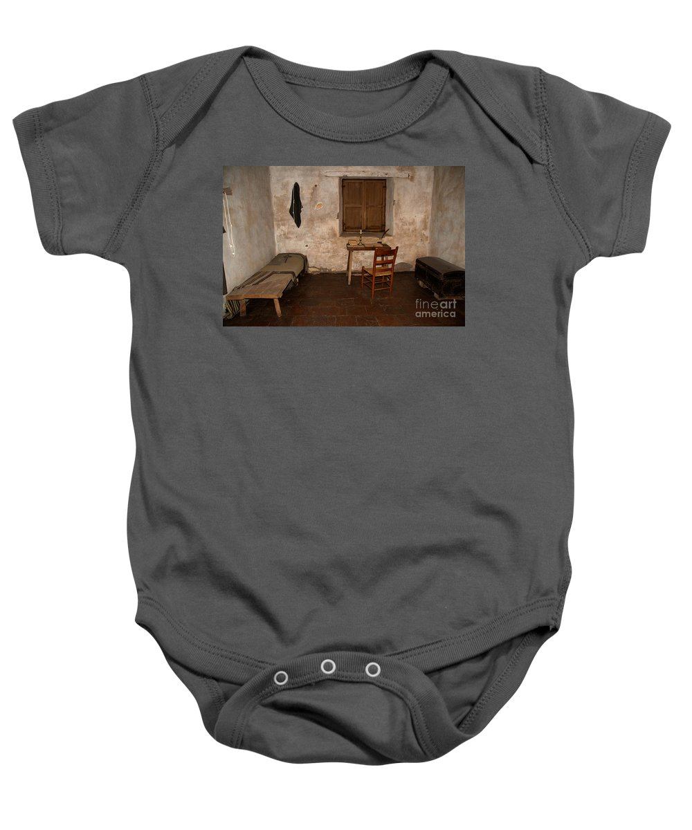 California Baby Onesie featuring the digital art The Museum At The Monastery by Carol Ailles