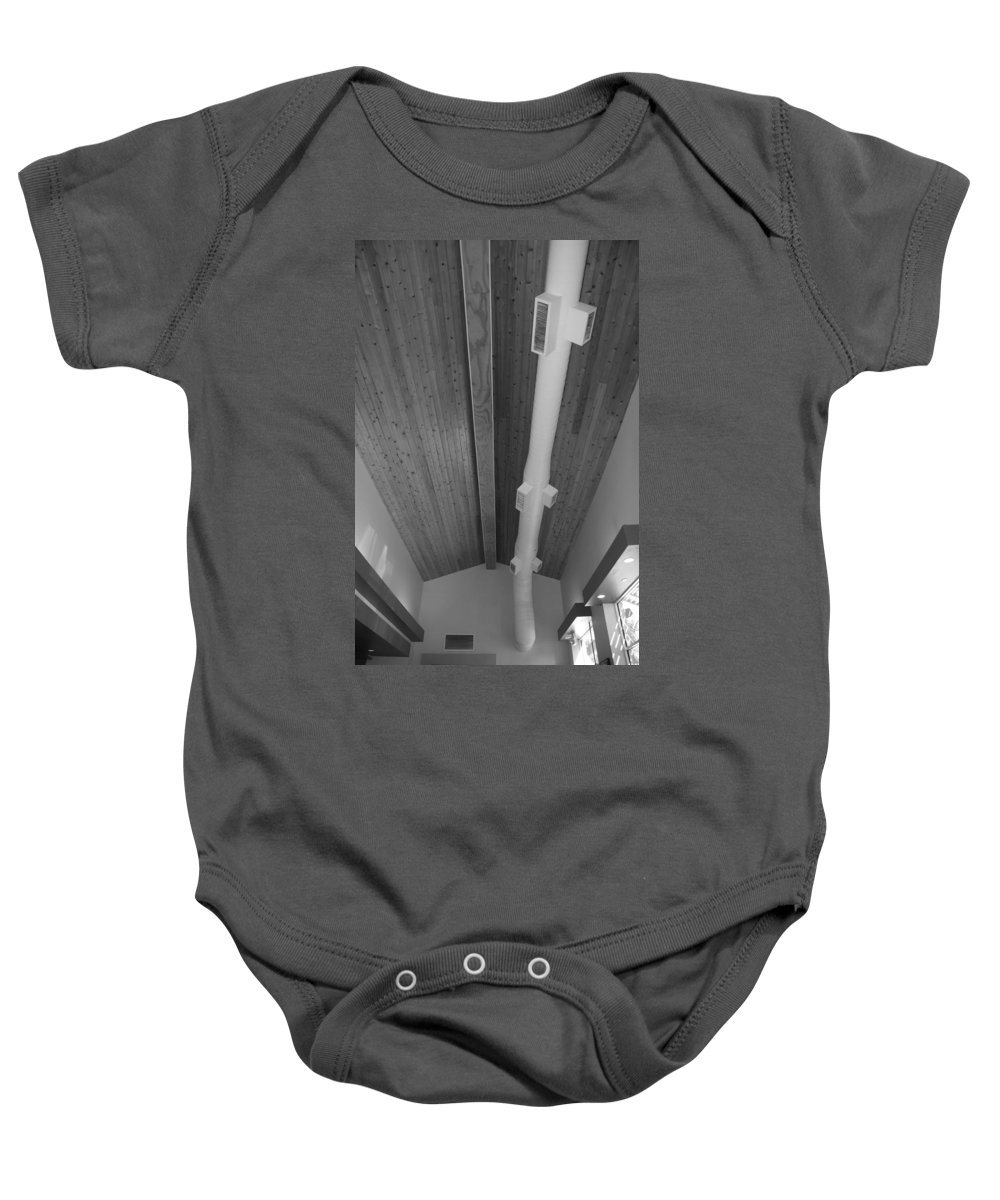 Black And White Baby Onesie featuring the photograph White Pipe by Rob Hans