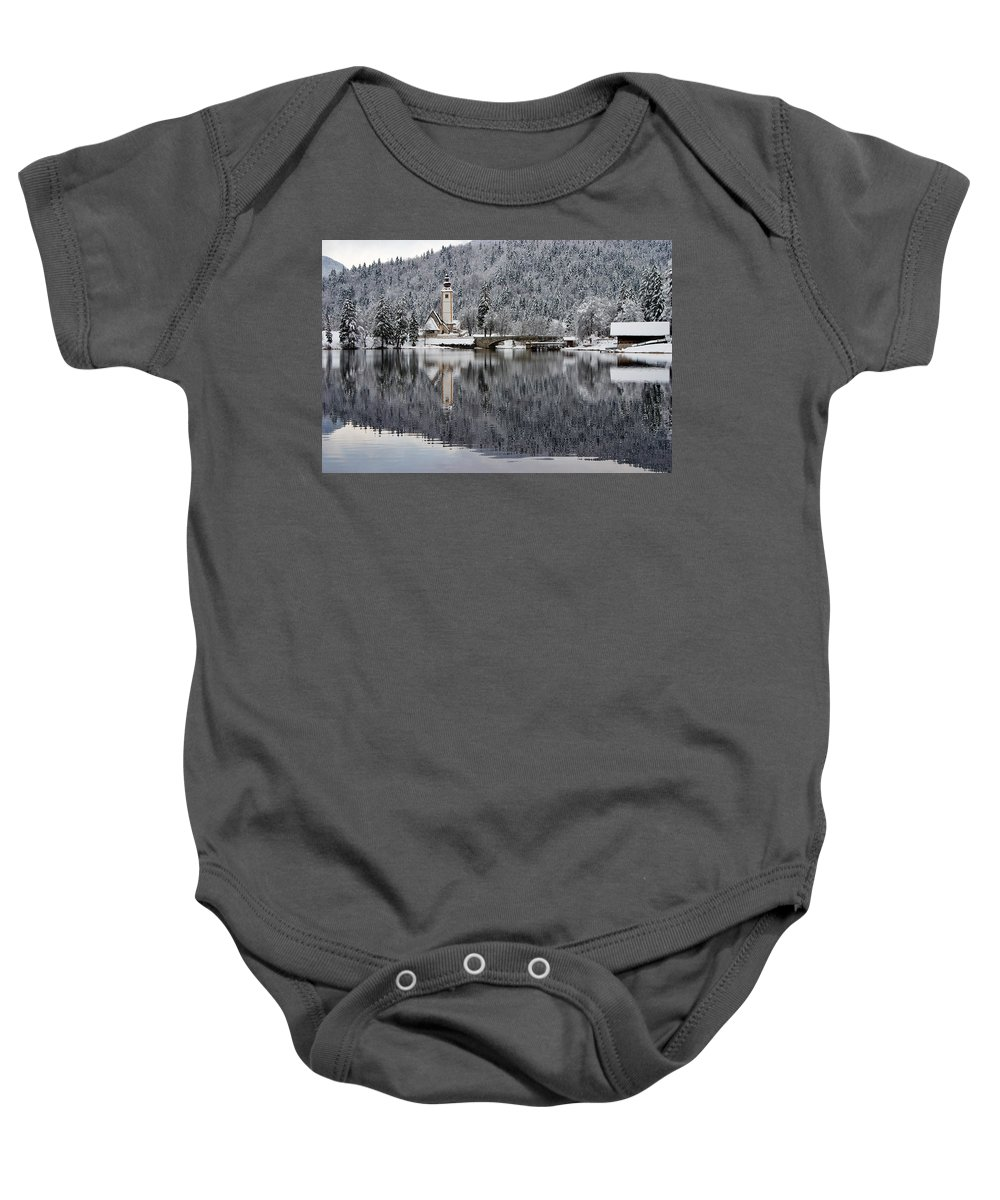 Reflections Baby Onesie featuring the photograph Lake Bohinj In Winter by Ian Middleton