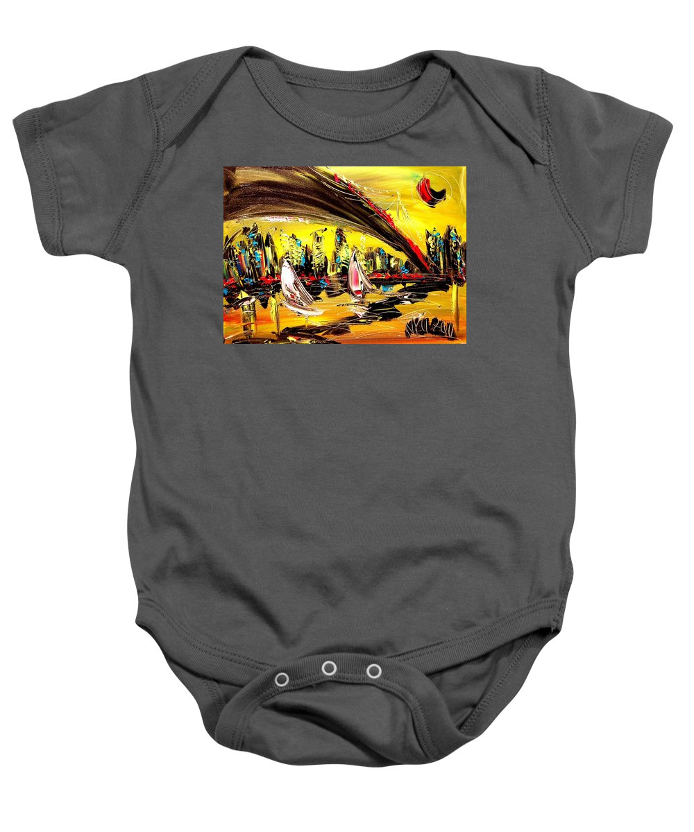 Baby Onesie featuring the painting Nycity by Mark Kazav