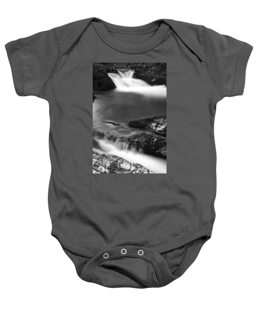 Soteska Baby Onesie featuring the photograph The Soteska Vintgar Gorge In Black And White by Ian Middleton